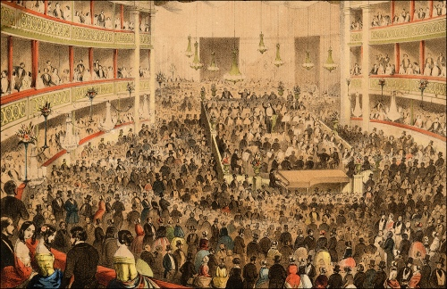 Detail from a lithograph depicting Jullien's promenade concert at Covent Garden. Image property of Westminster City Archives.
