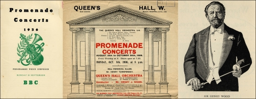 Queen's Hall: Programme cover 1936; Playbill, 1906; engraved portrait of Sir Henry Wood, 1934. Images property of Westminster City Archives.