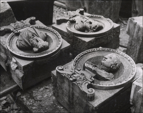 Busts of Wagner, Brahms and Weber, salvaged from the debris of the Queen's Hall, c1953. Image property of Westminster City Archives.