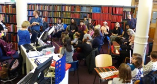 Getting ready to perform a celebration of Peter and the Wolf for BBC Music Day 2016 at Westminster Music Library