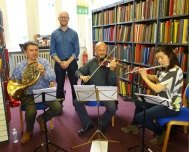 Musicians from the Royal Philharmonic Orchestra at Westminster Music Library for BBC Music Day 2016