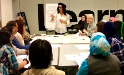 Devrim leads the French class at the French Culture Day at Church Street Library, July 2016