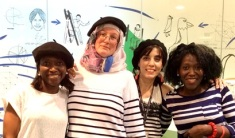 L-R: Fleur, Elodie, Debora, Marie at the French Culture Day at Church Street Library, July 2016