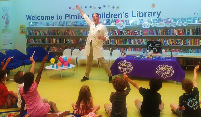 Professor Lightning and his Mad Science workshop at Pimlico Library, August 2016