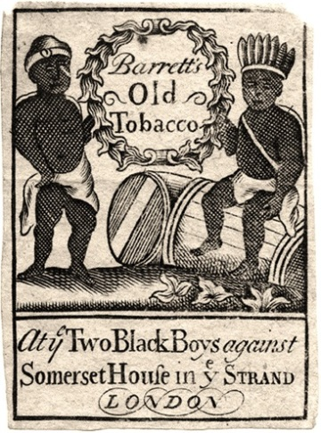 Trade card for Barrett's old tobacco at the sign of the Two Black Boys against Somerset House, Strand, 18th century (Box 63 No. 33f). Image property of Westminster City Archives.