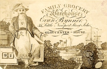 Trade card of Evan Bynner, family grocery warehouse, 35 Little Newport Street, late 18th century (Box 63 No. 2e). Image property of Westminster City Archives.