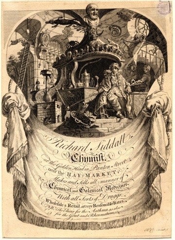 Trade card of Richard Siddall, chymist (sic), at the sign of the Golden Head, Panton Street, 18th century (Box 63 No. 29f). Image property of Westminster City Archives.