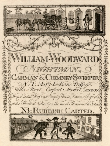 Trade card of William Woodward, nightman, 1 Marylebone Passage, Wells Street, c1820 (Ashbridge 411 Acc 1909). Image property of Westminster City Archives.