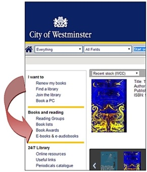 Where to find the Book Awards section on Westminster Libraries catalogue
