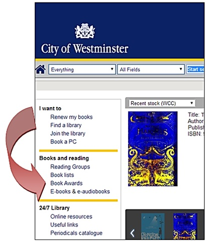 Book awards section on Westminster Libraries catalogue