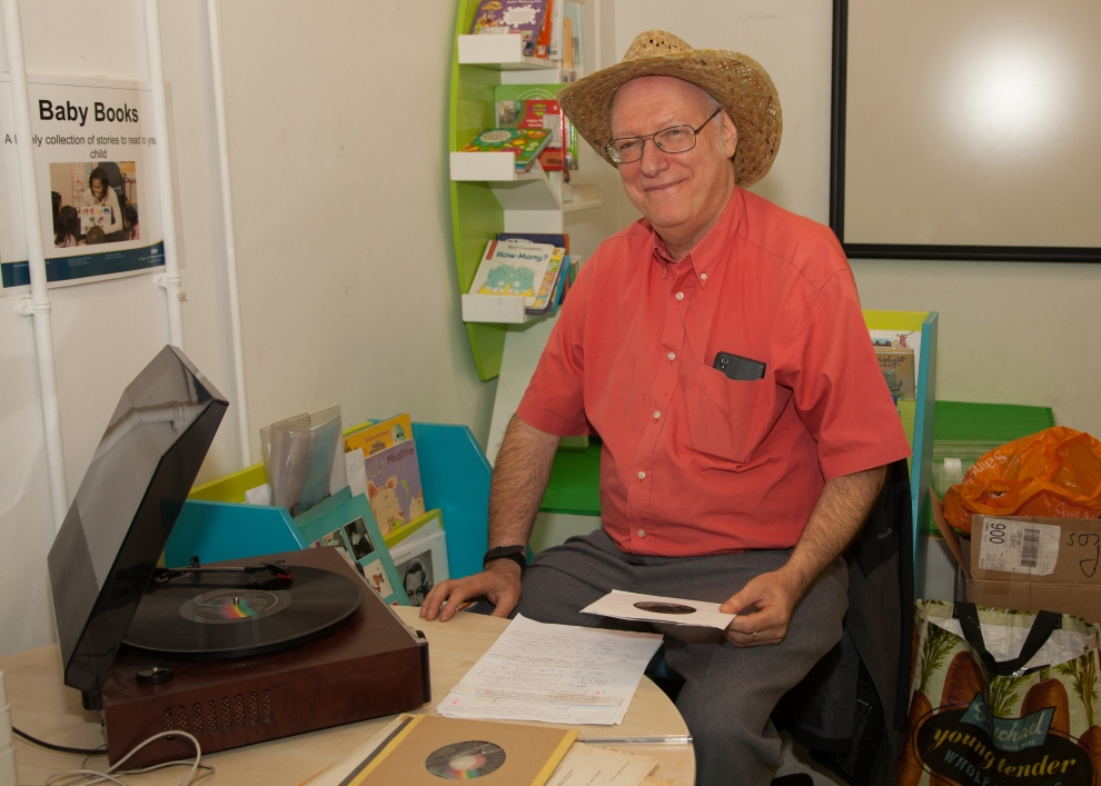 Barrie spins the discs at the HLS Musical Lunch at St John's Wood Library for Silver Sunday 2016