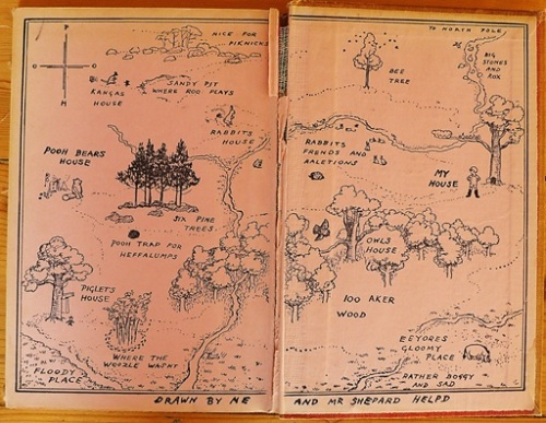 Map inside cover of Winnie the Pooh, by A A Milne