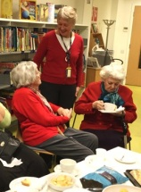 Elaine chats with Home Library Service users, Pimlico Library, December 2016