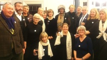 Mayfair Community Choir at and their 'I love my librarian' badges at Mayfair Library, November 2016