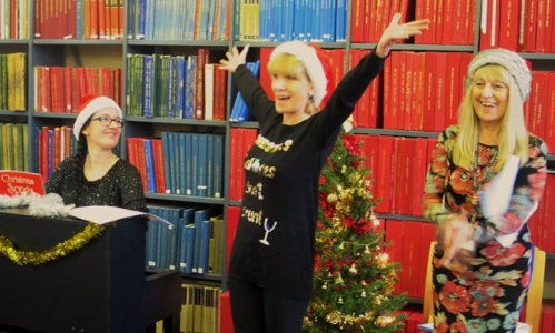 Staff get into the swing of the under fives' Christmas party at Westminster Music Library, December 2016