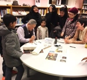 Mr Zhu's calligraphy at Queen's Park Library's Community Cultural Celebration, February 2017