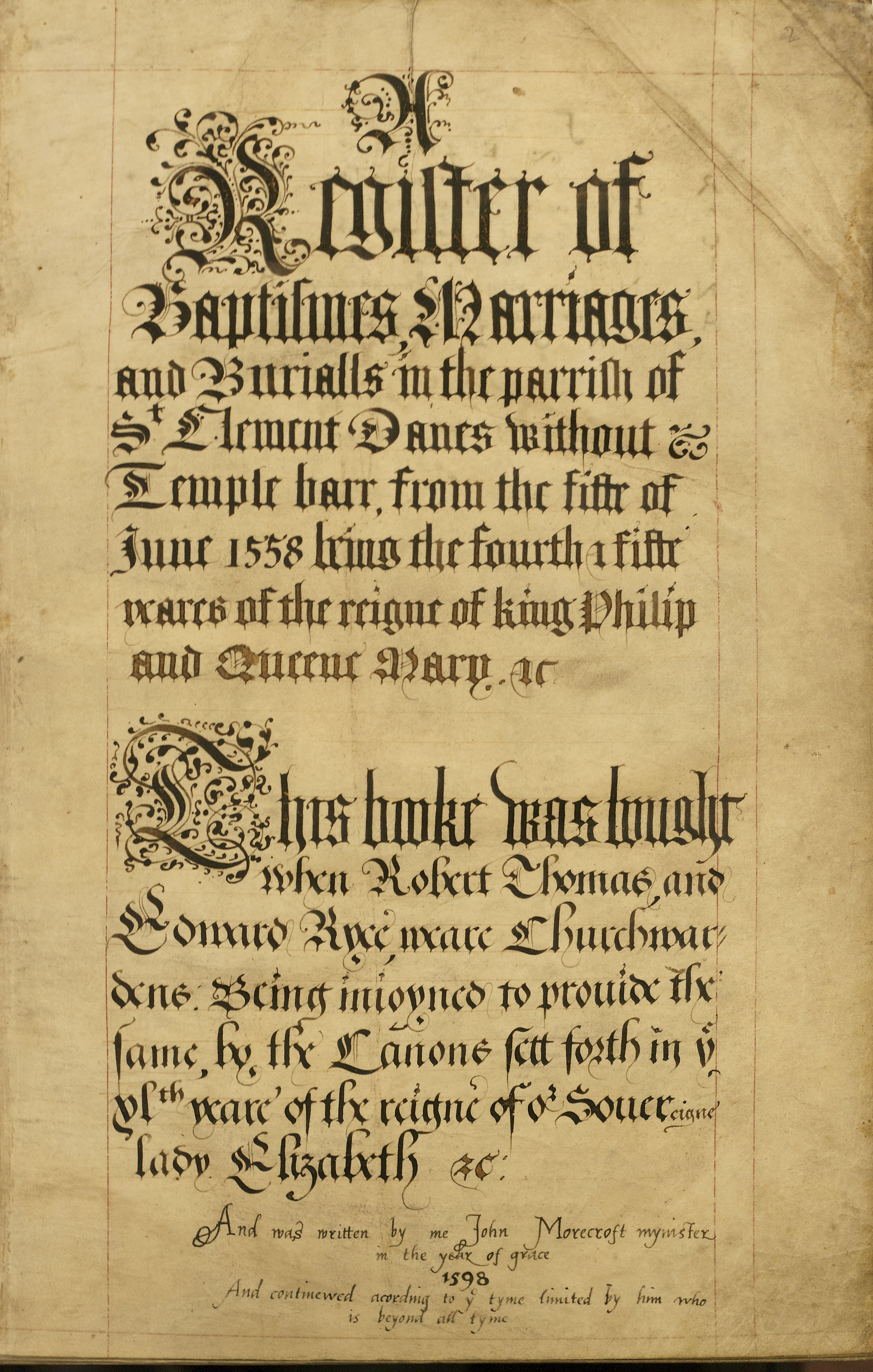 Title page of our earliest register for St Clement Danes 1558. Image  property of Westminster