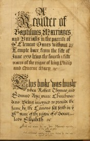 Title page of our earliest register for St Clement Danes 1558. Image property of Westminster City Archives.