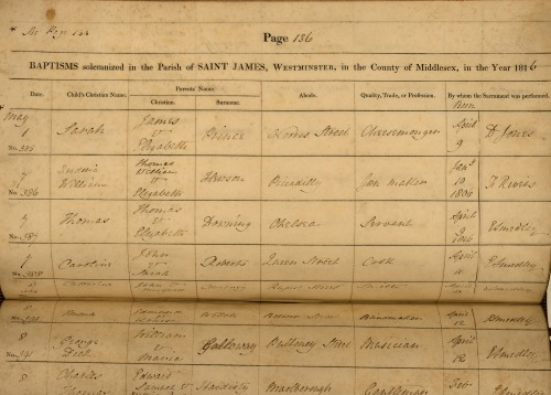 An example of a baptism entry page from St James, Piccadilly, showing the printed paper registers used after 1813. Image property of Westminster City Archives.