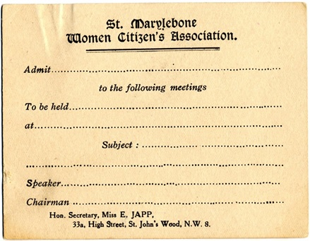 St Marylebone Women Citizen's Association - entry ticket. Image property of Westminster City Archives