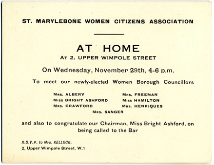 St Marylebone Women Citizen's Association - event invitation. Image property of Westminster City Archives