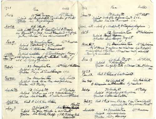 St Marylebone Women Citizen's Association - schedule of meetings 1921-22. Image property of Westminster City Archives