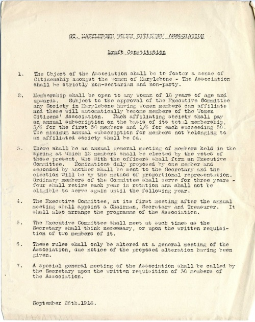 St Marylebone Women Citizen's Association - draft constitution, 26 September 1918. Image property of Westminster City Archives