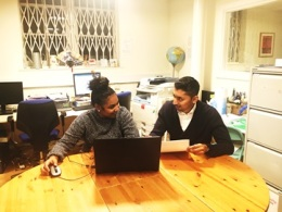 Shah at Queen's Park Library, giving employment advice and support