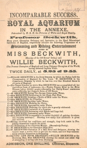 A06A2579 - Playbill for Professor Beckwith, swimming and diving entertainment given by Miss Beckwith and Willie Beckwith